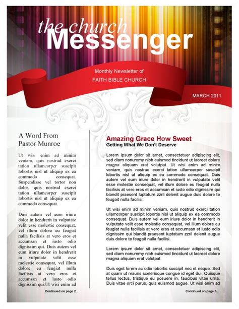 Colors Church Newsletter Template Free Church Newsletter Templates For Microsoft Word