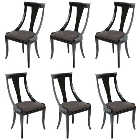 set of 6 black lacquer dining chairs at 1stdibs set of six black lacquer side chairs by pietro constantini