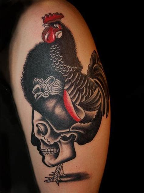 real looking tattoos realistic looking big chicken with skull on