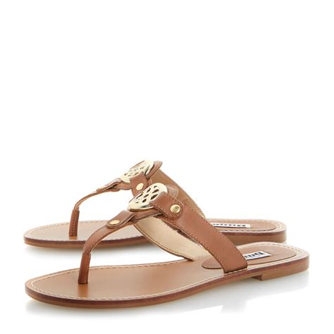 sandals flat dune jingly leather monogram flat sandals in brown