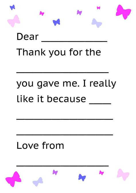 Thank You Note Writing Template Printable Thank You Card Template For Thank Yous Printable Thank You