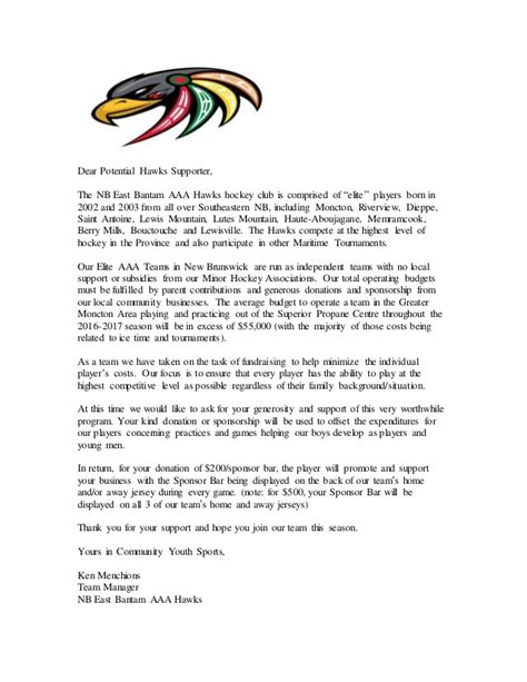 thank you letter to hockey parents bantam aaa jersey sponsor letter moncton