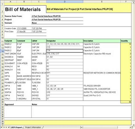Generating A Custom Bill Of Materials Online Documentation For Altium Products Bill Of Materials Template Free