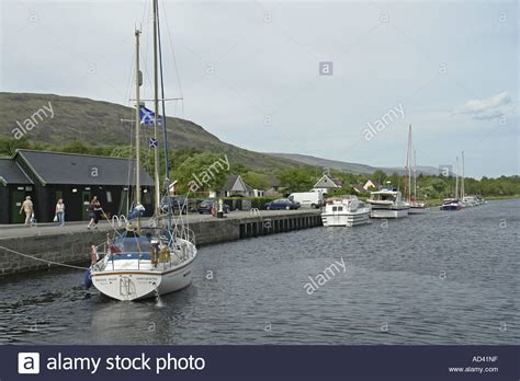sailing boat on canal sailing boat on the caledonian canal near fort william has