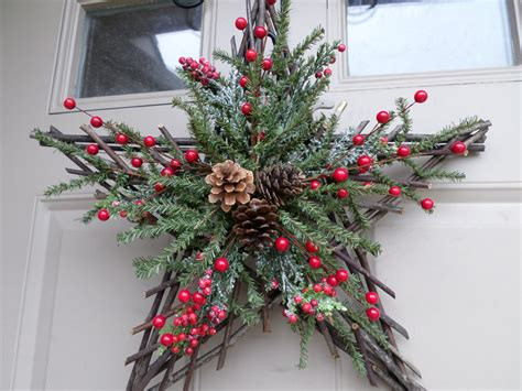 christmas twig star wreath swag or decor with berries
