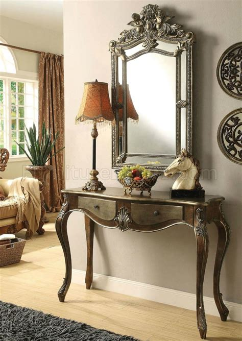 kelsey console table mirror set   bronze taupe