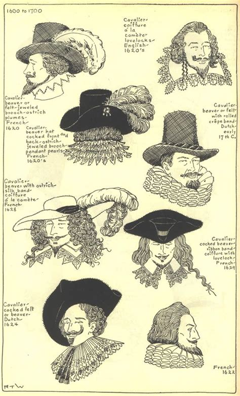 17th century hair styles drawings of hats and hairstyles from the 17th century