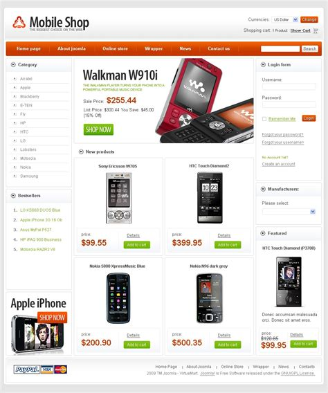 Free Mobile Store Virtuemart Template Template Shop Free