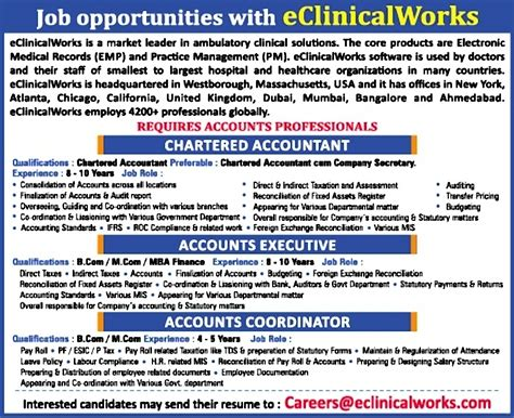 Chartered Accountant Mba Harvard by In Eclinicalworks India Pvt Ltd Vacancies In