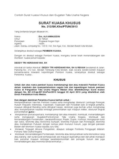 Contoh Surat Kuasa Khusus Dan Gugatan Tata Usaha Negara