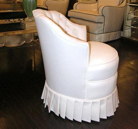 white cotton upholstered vanity chair  pleated skirt  stdibs
