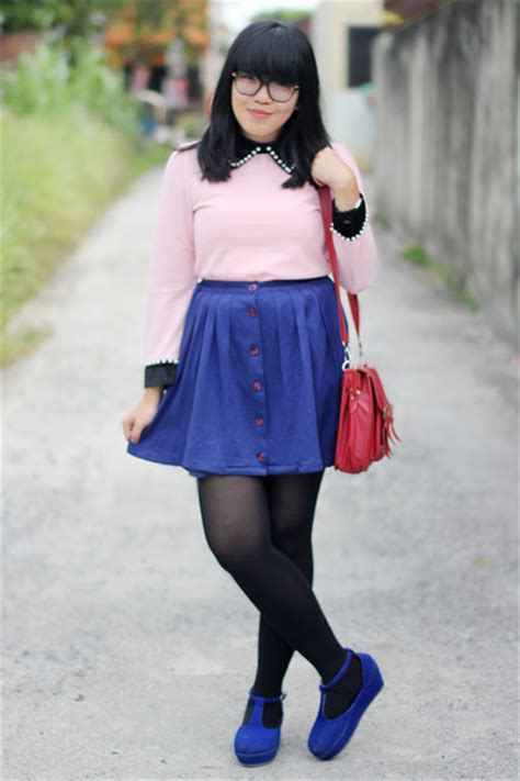 pink tops blue shoes black tights ruby satchel bags