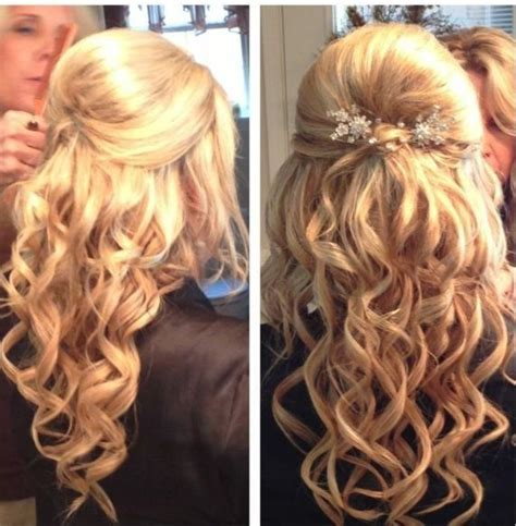 prom hairstyles for long hair down curly pinterest 59069698 prom hair half updo curly with volume pearls curls