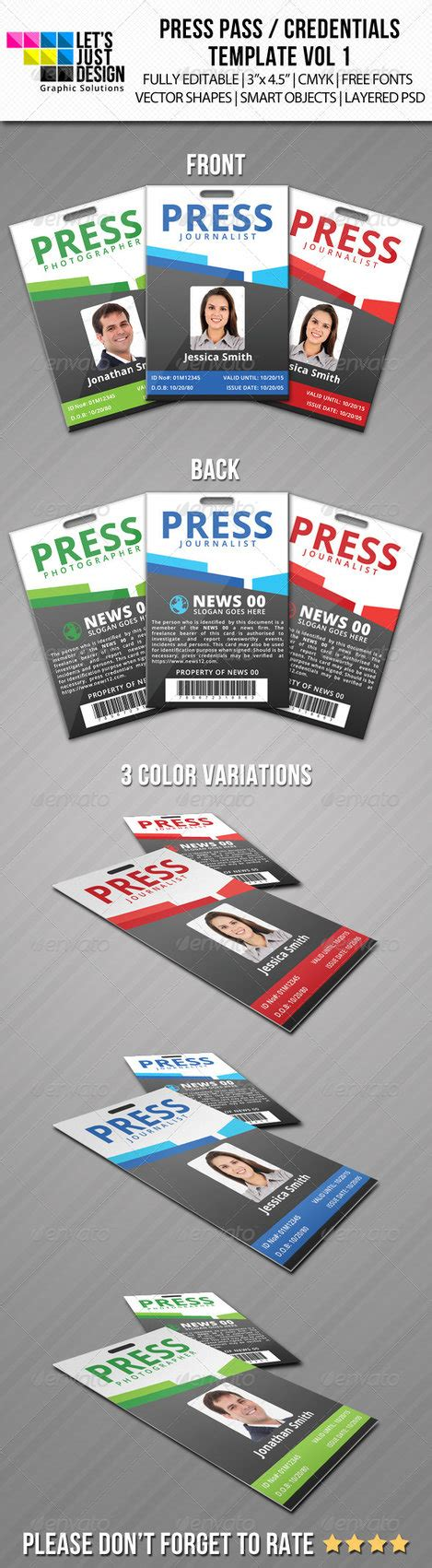 Press Pass Credentials Template Vol 1 By Jasonmendes On Deviantart Media Pass Template Photoshop