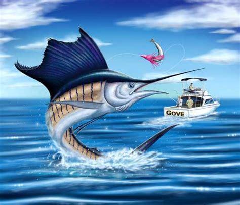 sport fishing boat artwork david pearce marine art