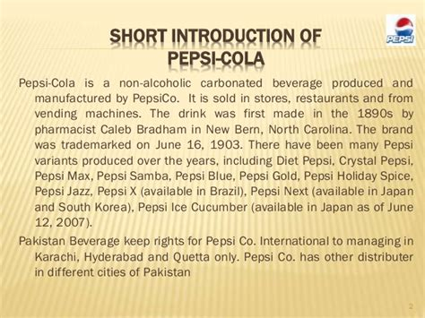 introduction of pepsi slideshare presentation on pepsi co