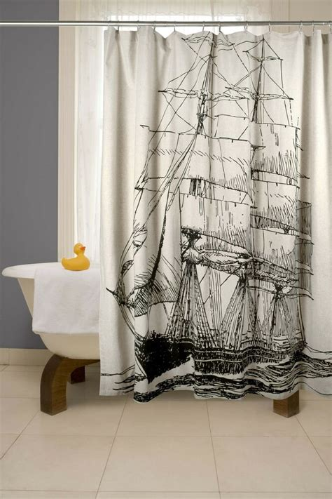 Cool Shower Curtains by Nautical Shower Curtains Fabric Black And White Shower