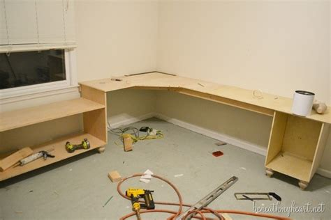 Diy Office Desk And Window Seats Part One Beneath My Heart How To Build An Office Desk
