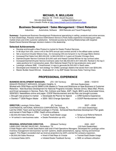 Business Executive Sle Resume by Resume Business Development Manager Sales