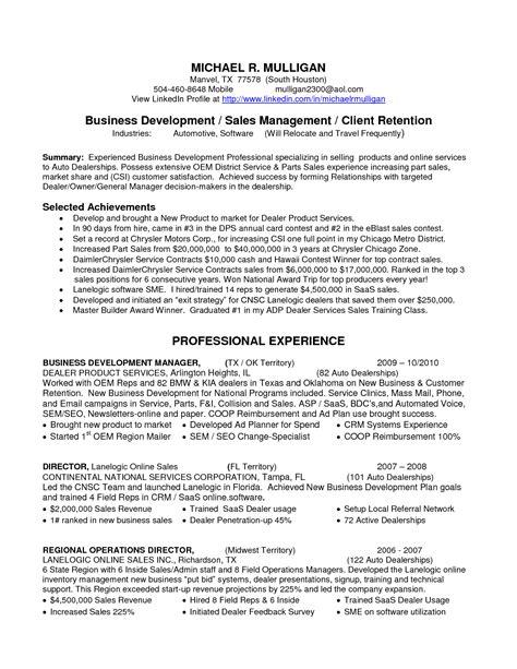 Resume business development manager sales