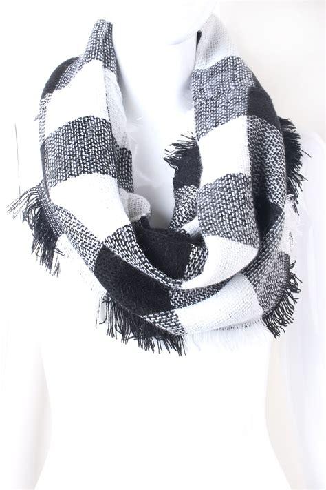 Plaid Fringe Scarf plaid fringe infinity scarf scarves