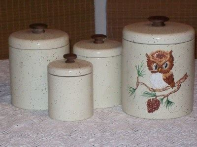 Metal Canisters Kitchen Retro Kitchen Canister Set Metal 4 Pieces Owl Hoot
