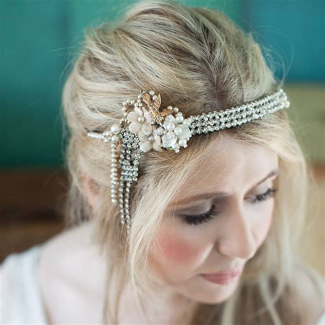 Vintage Wedding Hair Accessories Glasgow by Deco Flapper Vintage Bridal Headband By La