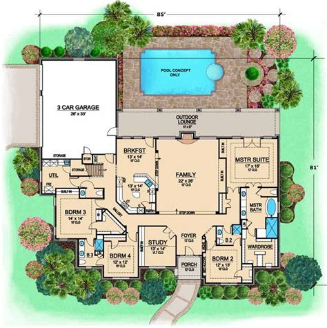 European Style Floor Plans by European Style House Plans 3681 Square Foot Home 1