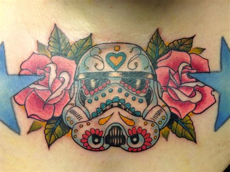 stormtrooper day of the dead traditional chest tattoo
