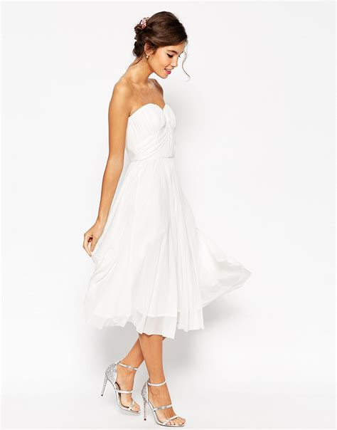 asos wedding ruched bodice bandeau midi dress in lyst