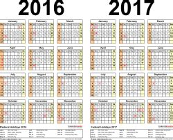 Two Year Calendar Template by 2016 2017 Calendar Free Printable Two Year Word Calendars