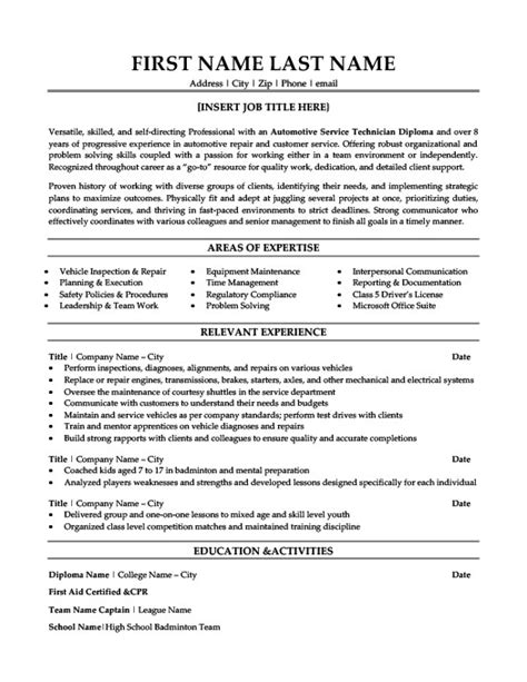 Automotive Service Technician Resume Template Premium Resume Sles Exle Automotive Technician Resume Template