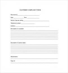 complaint forms template sle customer complaint form exles 7 free