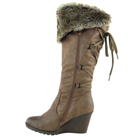 womens mid wedge high heel fur lined warm winter