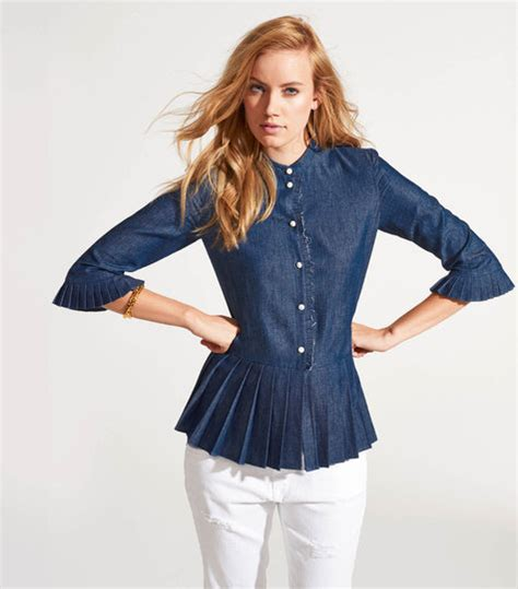 Pleated Hem Blouse pleated hem blouse with stand up collar 02 2015 110