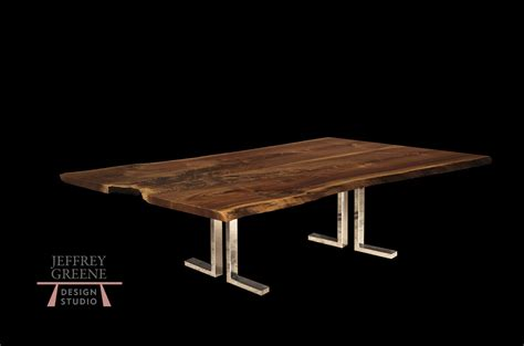 black table l base double l live edge dining table in brushed steel jeffrey