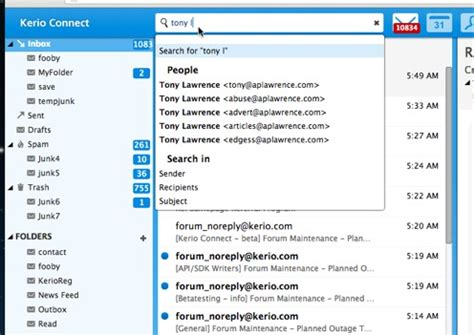 Client Search Advanced Search Features In Kerio Connect Webmail