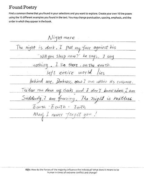 Found Poetry | English 10: Literary Journeys