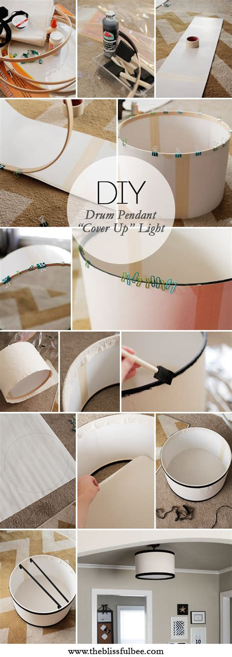 diy drum light fixture diy drum pendant cover up light the blissful bee