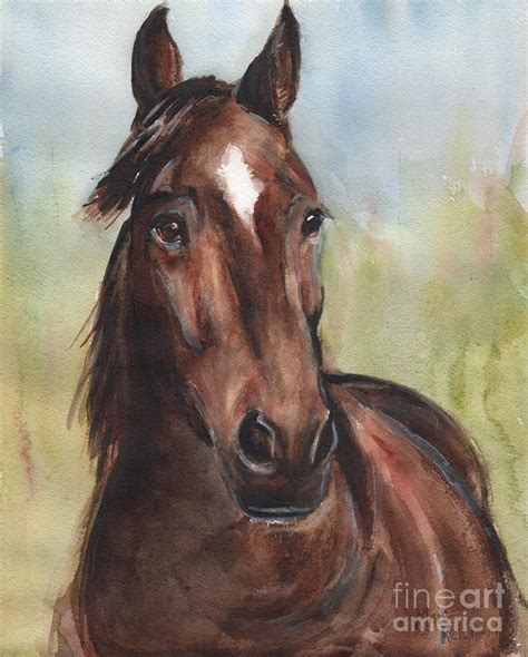 Horse Shower Curtains by Standardbred Horse Head Painting By Maria S Watercolor