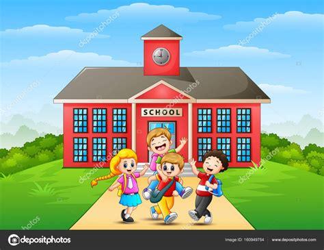 imagenes infantiles niños escuela caricatura de ni 241 os felices frente a edificio de la