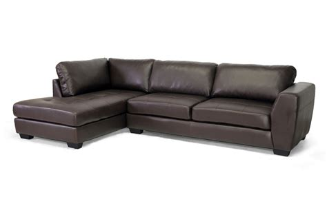 modern sectional sofa with chaise baxton studio orland brown leather modern sectional sofa