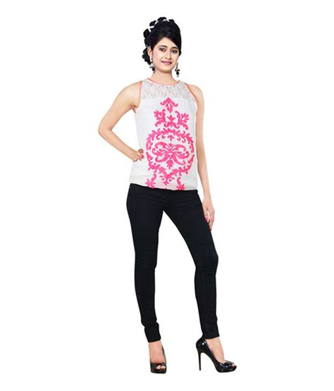 Creo Top creo lifestyle pvt ltd white embroidered poly georgette sleeveless top buy creo lifestyle pvt