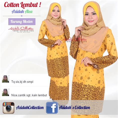 Baju Kurung Cotton Kuning azidah collection baju kurung moden cotton ready made ini memang cantik ini 2nd time saya beli ni