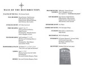 Catholic Funeral Mass Order Of Service Template by Catholic Funeral Mass Program Template A Husband
