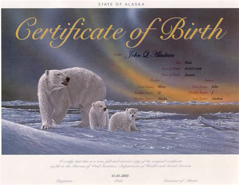 Birth Records Alaska Heirloom Birth Certificate Polar Bears Jon Zyle