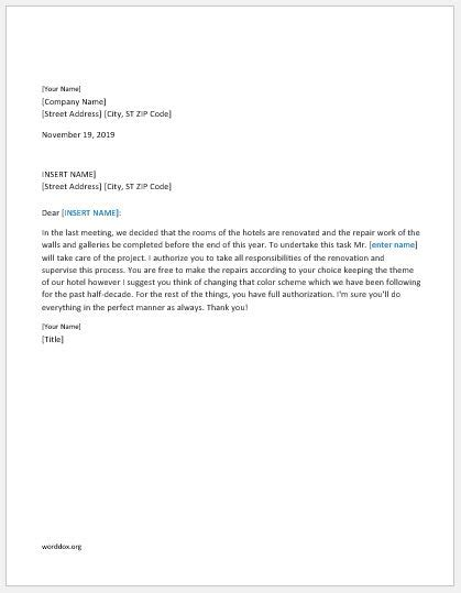 authorization letter templates word