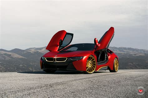 bmw i8 gold a bmw i8 wrapped in red gets golden wheels