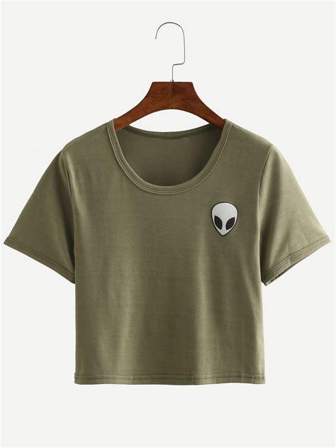 Crop Shirt print crop t shirt shein sheinside
