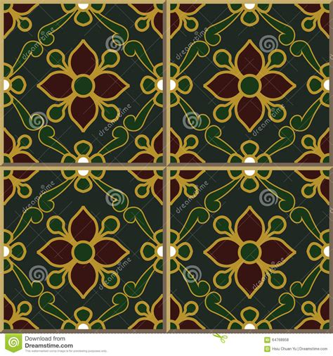 relief pattern wall tile vintage seamless wall tiles of green gold outline flower